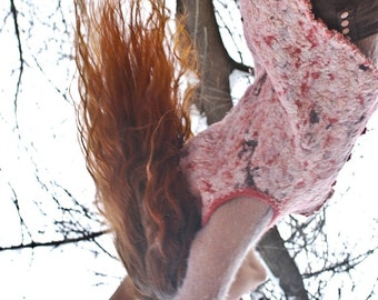Eco and boho style fashion wool and silk felted vest (with crochet lace and antique buttons) OOAK - to order!