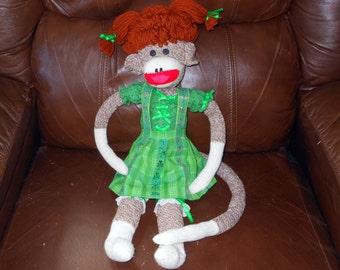 St Patrick's Day Leprechaun Sock Monkey Girl Doll Handmade Primitive @LootByLouise