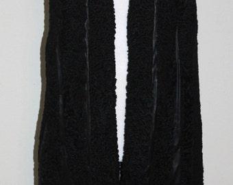 """Vintage 1970s """"Nathan's"""" Black Leather And Fur Vest"""