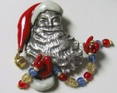 The Metropolitan Museum Of Art MMA Enamel SANTA CLAUS With Beaded Garland Silver Plated Brooch Pin ~ New Old Stock In Box Signed