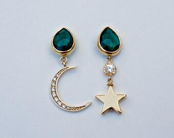Emerald Galaxy Earrings