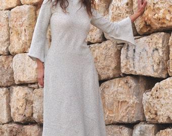 Stone Gray Women Clothing, Bukle Cotton Dress, Winter Dress, Warm Dress, winter cotton dress, winter long dress, plus size fall winter dress