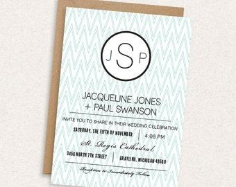 DIY Printable Wedding Invitation - Chevron - Monogram - Nautical - Modern - The Jacqueline