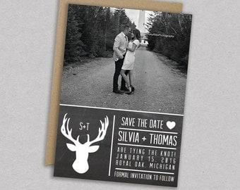 DIY Printable Wedding Save the Date- Deer Invitation - Antlers - Shabby Chic - Modern - Rustic - The Madison