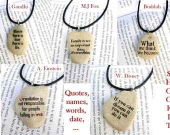 keepsake necklace, quote necklace, message beach stone, message stone necklace, wish necklace, famous quote necklace, quote jewelry, stone