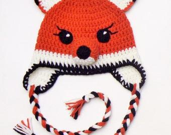 Crochet Fox Hat, Kids Winter Hat, Toddler Hat, Cute Hat, Animal Hat, Fox Ears Hat, Earflap Hat, Fox Hat, Crochet kids Hat, Unisex Kids Hat