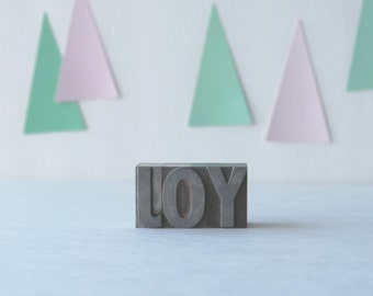 JOY vintage metal letterpress letters for the holidays or year round home decor