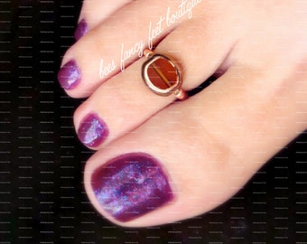 Toe Ring - Amber - Copper - Stretch Bead Toe Ring