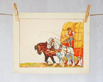 """ORIGINAL Watercolor Painting Nursery Decor 1930s Antique Horse & Coach with Farmer Art Print """"Don't make the going harder!"""" child's painting"""