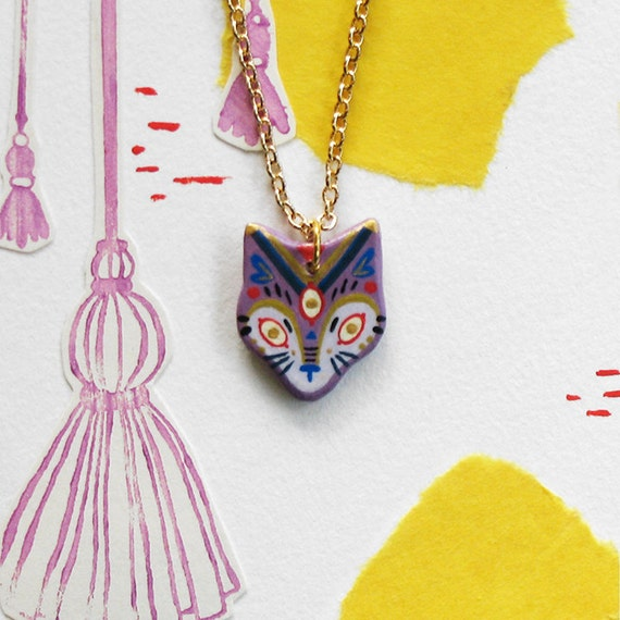 Fox Mini Pendant Necklace in Purple