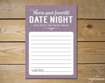 Printable Date Night Idea Cards, Rustic Romantic Wedding // Purple Bridal Shower, Wedding Favor // Newlywed Advice Card, Date Night Card