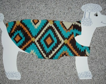 "Fleece Dog Coat; Native American Southwest Turquoise, size Large (40-50 lbs.) with cute lining. 28"" girth"