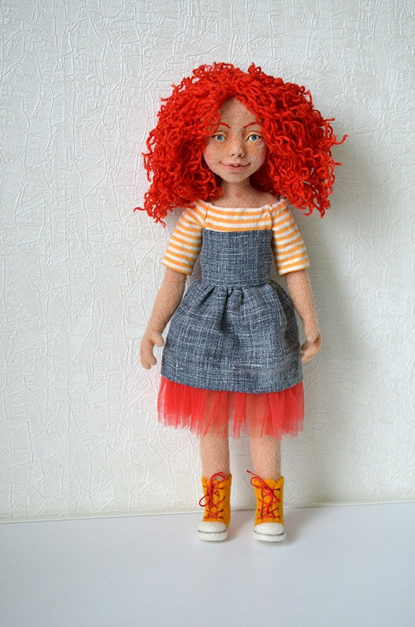 Needle felted doll. Collectible toy. Ginger girl. by ...