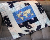Nautical Sailor Crib quilt, boy baby gift, Patchwork for children, baby quilt, blue quilt, nursery decor, gift for baby, baptism gift
