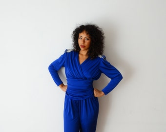 Vintage Royal Blue Glam Cinched Jumpsuit