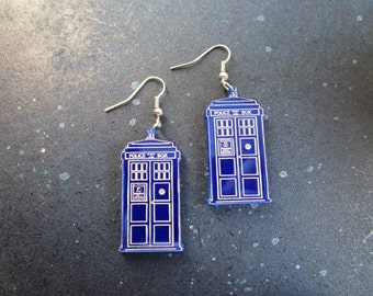 Police Box Earrings Handmade Laser Cut Acrylic Dr Doctor Who Time Machine Tardis Hypoallergenic Option
