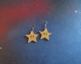 Invincibility Stars Power Up Dangle Earrings Super Mario Brothers Inspired Laser Cut Mirrored Gold Acrylic Hypoallergenic Option