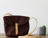 Small Day Bag, Messenger Bag, Wax Canvas Bag, Brown, Wax Canvas Satchel, Purse, Shoulder Bag, Crossbody Bag for Man or Women Leather Strap