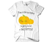 """Thanksgiving Big sister or Big brother kids shirt. Pregnancy announcement, """" This little pumpkin is going to be a____"""""""