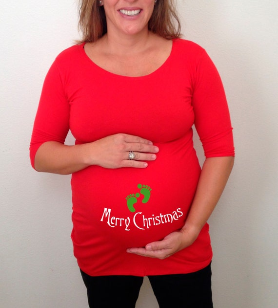 Christmas maternity shirt merry christmas 3 4 by for Funny christmas maternity t shirts