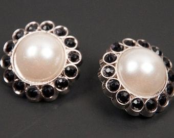 2 Pearl & Black Rhinestone 23mm Buttons