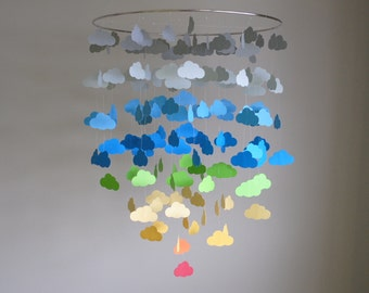 Rainbow & Gray Cloud Mobile (Large) // Nursery Mobile - Choose Your Colors