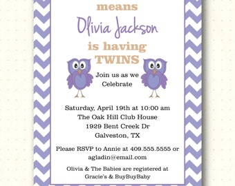 Twins Baby Shower Invitation, owl, chevron, purple, yellow, gray, pink, gender neutral, digital, printable, invite TS1438
