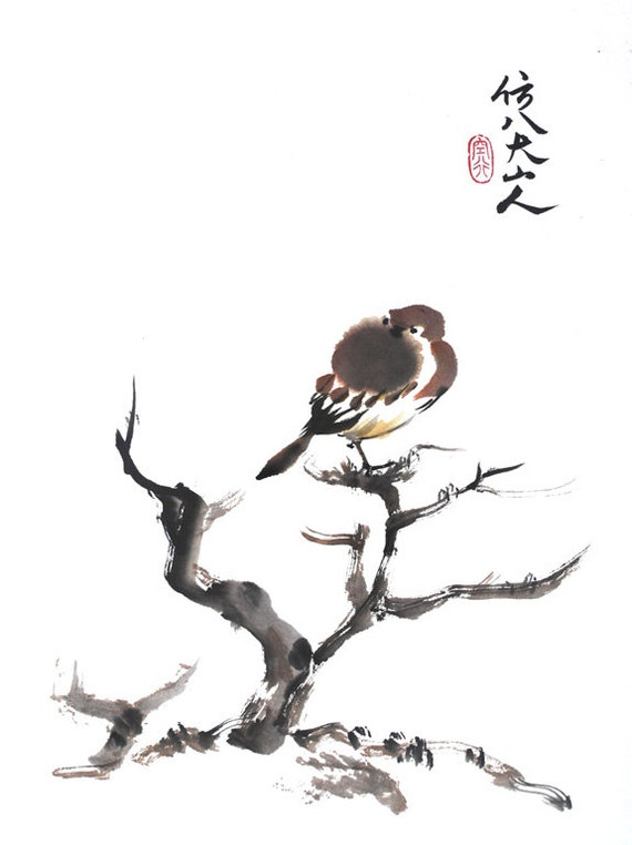 ... Chinese Ink Painting - Bird - For the Goodness of the World - Wall Art