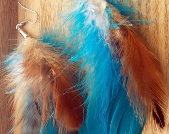 Turquoise and Tan Feather Earrings