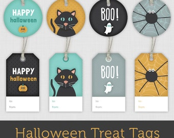 Instant Download Printable Halloween Gift Tags - Set of 8 Happy Halloween Gift Labels/Party Favor Tags: Pumpkin, Black Cat, Ghost and Spider