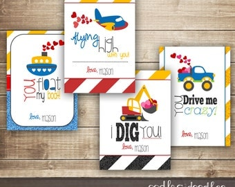 Boys Valentines / Personalized Valentines / Kid's Valentine's Day Cards / Construction and Transportation / Valentine's Day - Printable