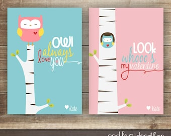 Owl Valentines / Girls Valentines / Personalized Kid's Valentine's Day Cards  / Valentine's Day / Pink & Turquoise - Printable