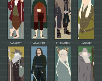 The Hobbit and The Lord of the Rings LOTR Bookmark – Gandalf – Bilbo – Frodo – Thorin – Aragorn – Legolas – Thranduil – Radagast