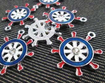 6 ship wheel anchor charm Nautical Charms enamel charms  - CT - 0384