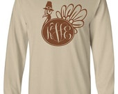 Monogram Turkey Adult Long Sleeve T-Shirt, Thanksgiving Monogram Clothing, Thanksgiving Turkey