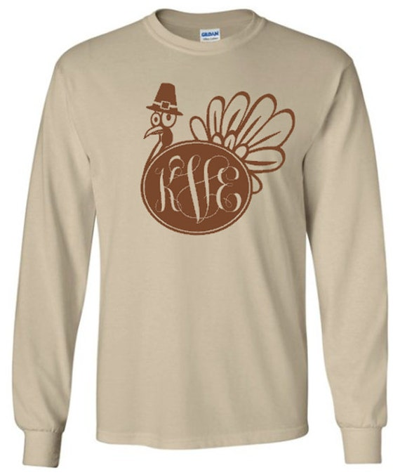 Items similar to monogram turkey adult long sleeve t shirt for Shirts made in turkey