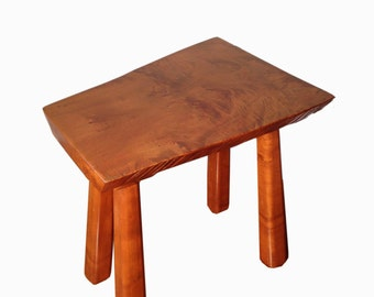 Mid Century Wood Slab End Table or Bench - Handmade Teak Furniture - Raw Edge Table Bench