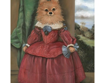 Lady Pom Pom Canvas Prints  Pomeranian Art, Dog Art, Pom Lover Gift