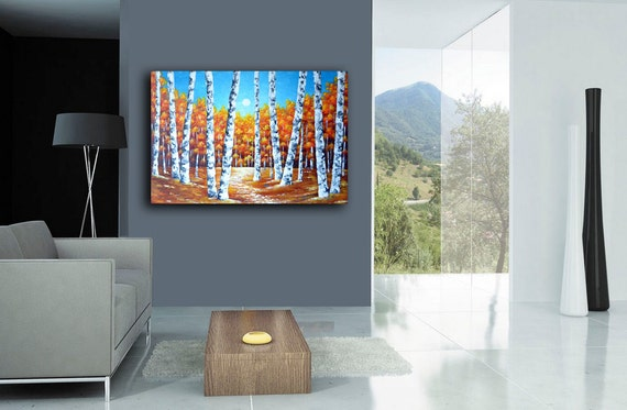 Original birch trees painting abstract landscapes by zarasshop for What kind of paint to use on kitchen cabinets for ready to hang canvas wall art