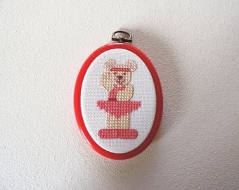 Ballerina Teddy Picture In Cross Stitch.  In Red Hoop Frame.  CLEARANCE SALE