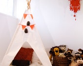 Handmade White Teepee Tent Play fort Wigwam  White Tent Bleached Muslin Pictured