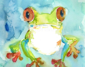 Tree Frog Painting, 8 x 10 Print, Watercolor Frog, Tree Frog Art, Watercolor Print, Animal Art, Rainforest Art, Nursery Art, Frog Print