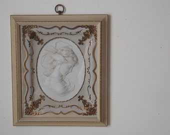Vintage Cameo Lady Kitsch Molded Plastic Gold Baroque Mid Century Decor