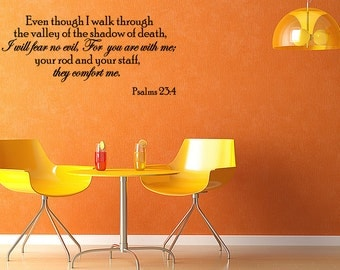 Even Though I Walk Through The Valley Vinyl Wall Decal Quotes Religious Sticker Decor (JL91)