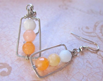 Dreamsicle Hammered Wire Framed Stone Earrings, Faceted Aventurine and Riverstone