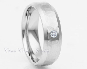 Titanium Wedding Ring,Titanium Wedding Band,Hammered,White Diamond,Beveled Edges,Satin Polish,Handmade,Custom,Engagement