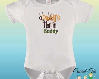 Daddy's Huntin Buddy EMBROIDERED Hunting Baby Bodysuit