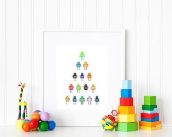 Robot Nursery Print, Robot Boys Room, Kids Room Decor, Robot Nursery, Robot Wall Art, INSTANT DOWNLOAD, Digital Art Print, Gift for Kids