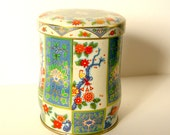 Vintage Tin with Flowers and Birds - Made in England - Asian Theme Blue Green Red