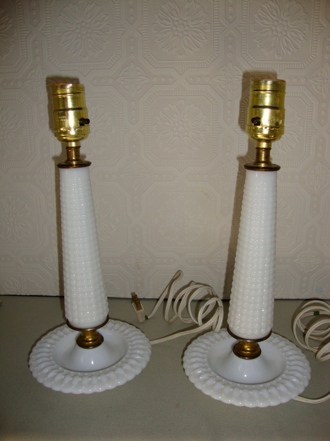 white hobnail milk glass lamps vintage pair by